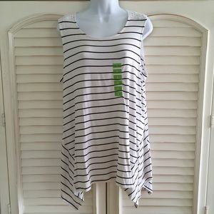Ellen Tracy Sailor Striped Tank Top NWT